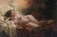 CHOP1001 Lie in bed naked woman hand painted oil painting wall art on canvas