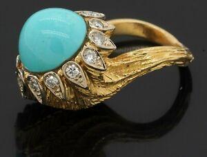Heavy 18K YG 0.52CT VS diamond & 13.0mm turquoise flower cocktail ring size 5.75