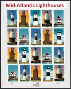 US 5621-5625 5625a Mid-Atlantic Lighthouses forever sheet (20 stamps) MNH 2021