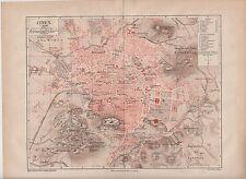 c. 1890 GREECE ATHENS City Plan ANTIQUE MAP
