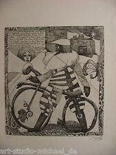 """Norddeutsche Künstler: Pit Morell: """"St Brendan´s Laufrad"""" Radierung, 3/35, 1974"""