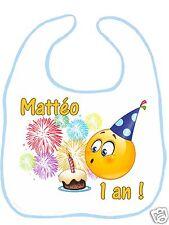 Bavoir bébé blanc bordure bleue réfG04 anniversaire 1an personnalisé avec prénom