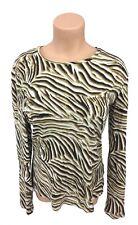 Jones New York Signature women's size medium animal print beige brown blouse