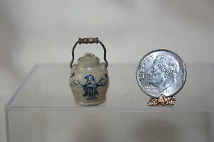 Miniature Dollhouse Jane Graber Pottery Patriotic Jug w Wood Handle 1:12