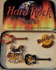 Hard Rock Cafe SINGAPORE 1998 4 Mini PINS Set in TIN Guitars Drum Logo HRC #8775