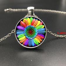 Rainbow Flower Gay photo Glass Dome Tibet silver Chain Pendant Necklace(F155)