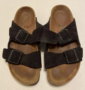 Ladies Birkenstock Black Suede Sandals 37 Double Buckle