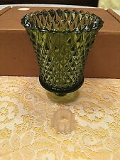 1 Heavy Green Homco Home Interiors, Diamond Cut Design Votive Cup Candle Holders