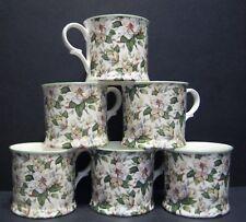Set Of 6 Magnolia Small English Fine Bone China Mugs Cups By Milton China