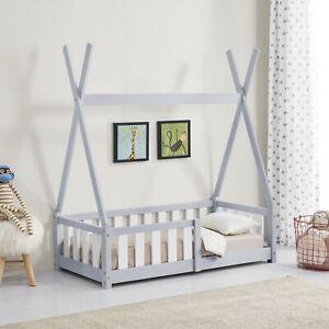 B-WARE Kinderbett 70x140cm Tipi Holz Grau Bettenhaus Hausbett Rausfallschutz