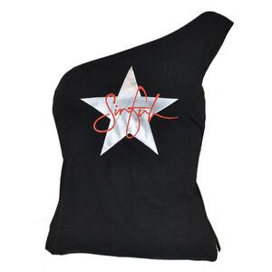 Sinful Star Brand Clothing One Shoulder Shirt Petite Ladies Women Medium Black