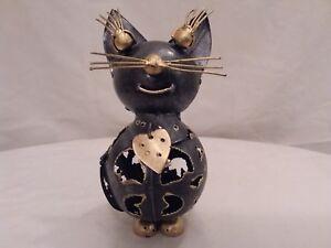 Sitting tin cat ornament, animal tea light holder, cat tea light holder, handmad