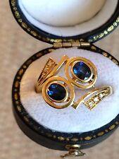 French? 18 KT Oro Giallo Zaffiro & Diamante Anello Abito Vintage-mozzafiato, RARA