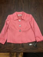 Tahari blazer jacket lined PINK silver buttons career Plus Size 4p Petite