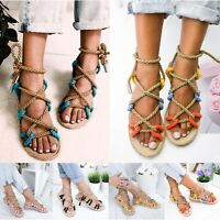 New Women's Strappy Roman Gladiator Sandals Flats Crossover Summer Beach Shoes