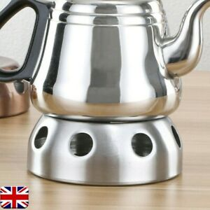 Round Teapot Warmer Stainless-Steel Candle Base Tea Pot Heat-resisting Heater UK
