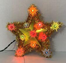 "Vintage Christmas Tree Star Topper Top Gold Tinsel Multi-Color Lights 7"""
