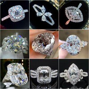 Luxury Women Jewelry Cubic Zirconia 925 Silver Rings Wedding Gifts Size 6-10