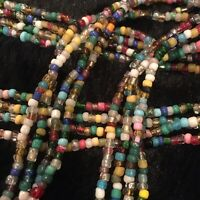 """4 Strands 27"""" Mardi Gras Necklace Glass Beads - Multicolored- Traditional (D)"""