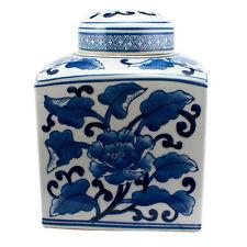 Large blue and white floral ceramic ginger jar