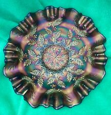 "9"" Fenton Holly Berry Irridescent Purple/Blue Carnival Glass Double Ruffle Bowl"