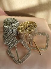 Women Silver Crystal Wide Chain Belt Full Diamonde Glitter Rhinestone Waistband