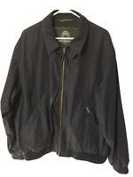 Weatherproof Men's Jacket Large Black Lined Windbreaker Bomber Full-Zip