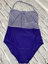 M&S New Swimming Costume Navy Mix Size 16 Support Padded Swimwear Marks Spencers