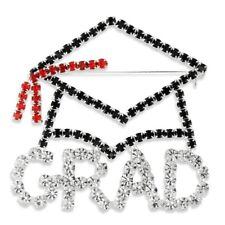 NEW Black, Red & Clear Rhinestone Graduation Cap Pin Brooch in Silvertone