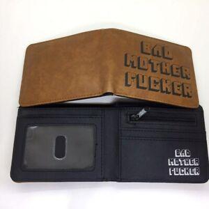 BAD MOTHER F***ER Wallet Pulp Fiction Bifold Men Brown Coins Cards Notes Holder