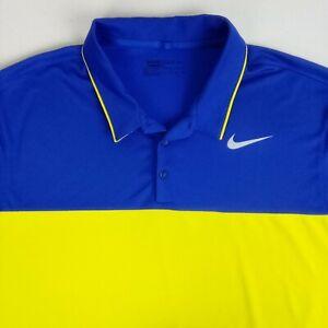 Nike Golf Mens Polo Shirt Dri-Fit 2XL Standard Fit Purple Yellow Casual