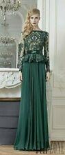 NWT$7480 Zuhair Murad 12 US Emerald Green Beaded Long Sleeve Evening Gown Dress