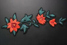 Large Embroidered Red Flower Iron  On Patch / Applique Iron On / Sew On Patch