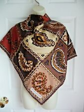 JEAN PATOU Paris Scarf NEW 100% Twill Silk Handrolled Paisley in Patchwork Print