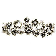 Pageant Baroque Crown Tiara Bronze Gold Half Head Hair Headdress Rhinestone Leaf