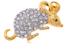 Vintage Crystal Rhinestone Golden Mouse Animal Fashion Pin Brooch Party Jewelry