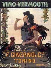 VERMUT CINZANO TORINO ITALIA Vintage Pubblicità Poster Retrò Muro Stampa 1567py