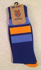 K-Swiss Men's Crew Socks 1 Pair 9-12 New Blue - Orange