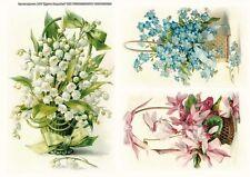 Rice paper for decoupage Flowers сonvallaria myosotis. 8,27×11,69 in. Russia