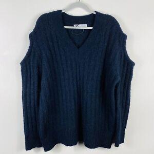 Zara Size Medium Navy Blue Alpaca Blend Open Sleeve Sweater