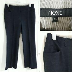 NEXT Womens Navy Blue Trousers Size 14 Long Pockets Workwear Smart Office