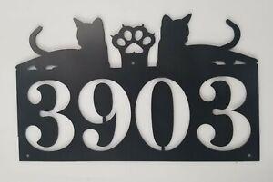 Cat Metal Address Sign with Cat Paw pet animal kitty plasma cut sign art custom