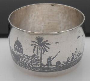 Egyptian Silver Niello Work Napkin Ring - White Metal - Vintage
