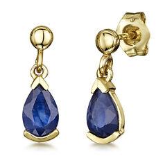 9ct Pendientes Oro Amarillo Zafiro Azul Pendientes