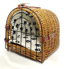Cat Wicker Padded Soft Pet Portable Transport Carrier Brown Basket