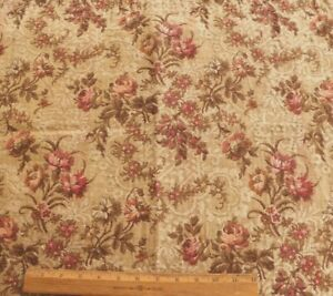Antique French c1880 Cotton/Linen Roses & Florals Jacquard Tapestry Fabric~20X25