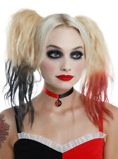 """DC Comics Harley Quinn 12"""" Round Pendant Red Satin Choker Necklace Cosplay NWT"""
