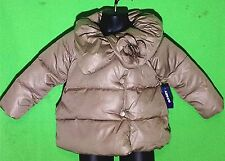 NWT OLD NAVY girl's tan color Collar w/flower puffer outerwear jacket size18-24M