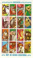 GUINEE EQUATORIAL  BLOC 16 singes differends: Chimpanzé,Macaque,Gibon....BL 112