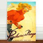 "Travel Poster Art ~ CANVAS PRINT 16x12"" ~ Ski Rochers de Naye Switzerland"